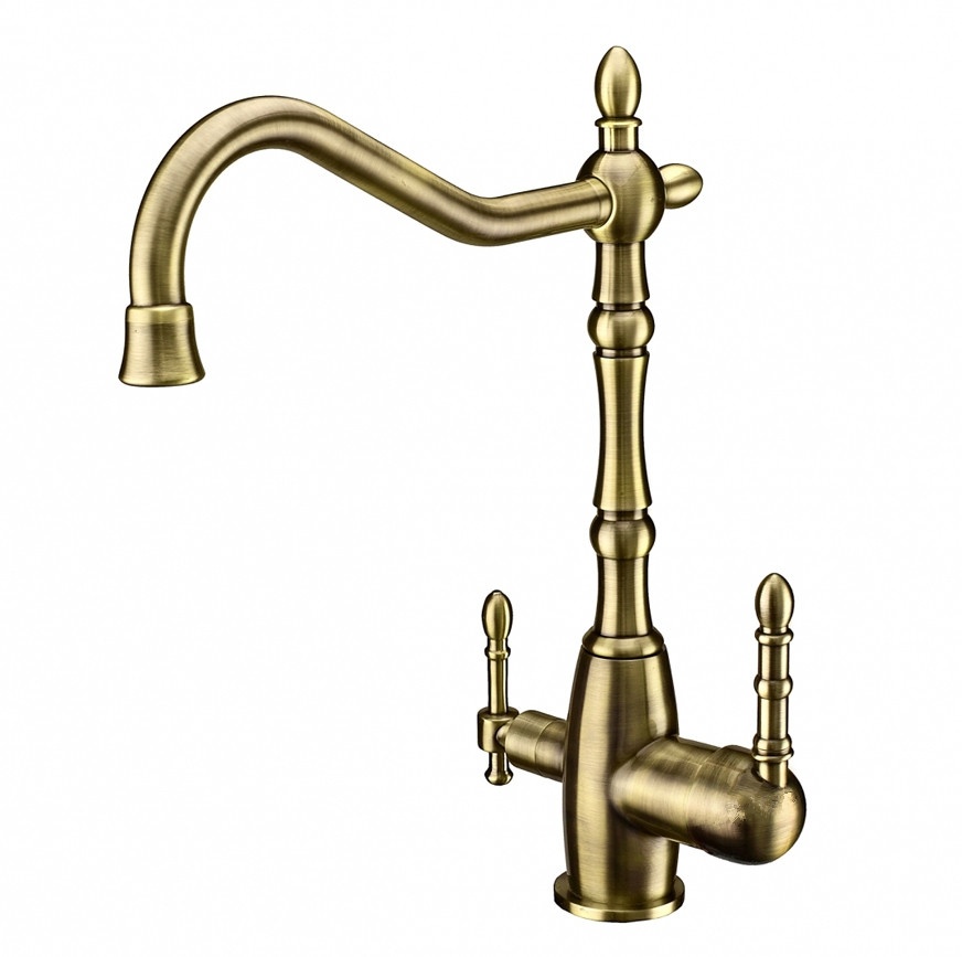 2017 Wholesale New Tri Flow Clean Water Antique Bronze Kitchen Faucet  Victoria Sink Mixer 3 Way