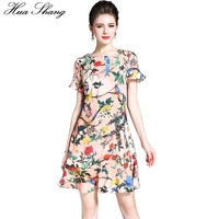 Hua Shang 2017 Women Summer O Neck Short Sleeve Floral Dress Slim Floral Bird Printing Chiffon