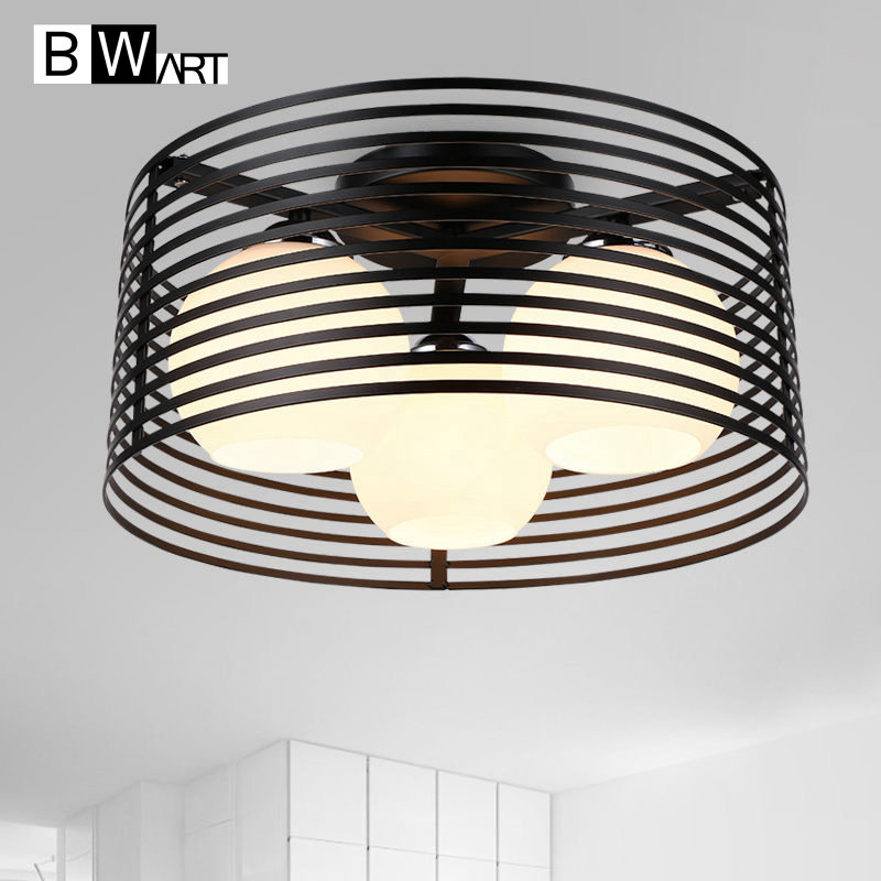 BWART Vintage Ceiling Lights Metal 3 E27 bulbs indoor light fixtures mounted bedroom living room led-lamp ceiling-lights chandeliers lights led lamps e27 bulbs iron ceiling fixtures glass cover american european style for living room bedroom 1031