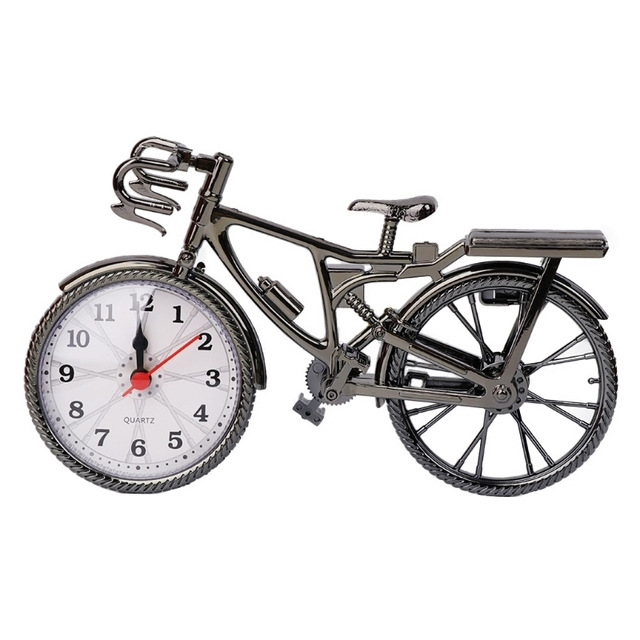 Retro Vintage Plastic Bicycle Bike Clock Home Decoration Table Clocks  Ornament