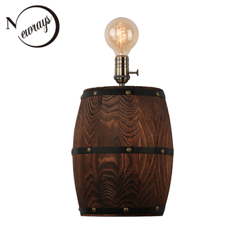 Vintage pastoral wall lamps American wine barrel modern wall lights LED E27 for bedroom dining room restaurant kitchen aisle bar