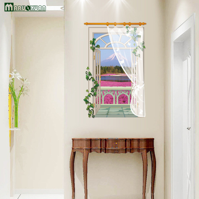 US $5.89 |YunXi 3D Windows Lavendel Aufkleber Schlafzimmer Wohnzimmer  Hintergrund Dekoration PVC Wasserdichte Wandaufkleber 58*88 CM in YunXi 3D  ...