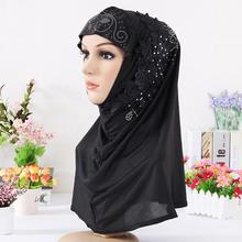 New Exquisite Solid Color Muslim Turban Woman Hijab Rhinestone Embroidery Popular Shawls Hijabs Headband 13 Colors Free Shipping