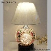 Китайский классический полая керамика настольная лампа спальня прикроватная лампа Американский пасторальный Античная роспись Настольная