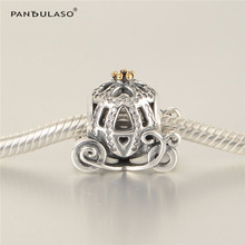 Pandulaso Cinderella's Pumpkin Coach Charm Beads For Woman DIY Original 925 Sterling silver Jewelry Fit Snake Chain Bracelets