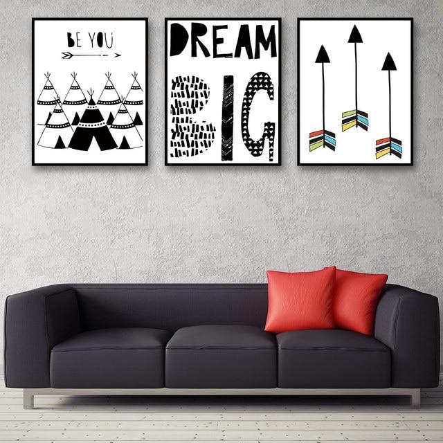 aliexpress com buy nordic arrow letter art big dream canvas
