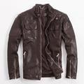 Motorcycle Coat Men's Leather Jacket  Jacket M65 Multi-Pocket Badges Stand Collar Slim Jacket