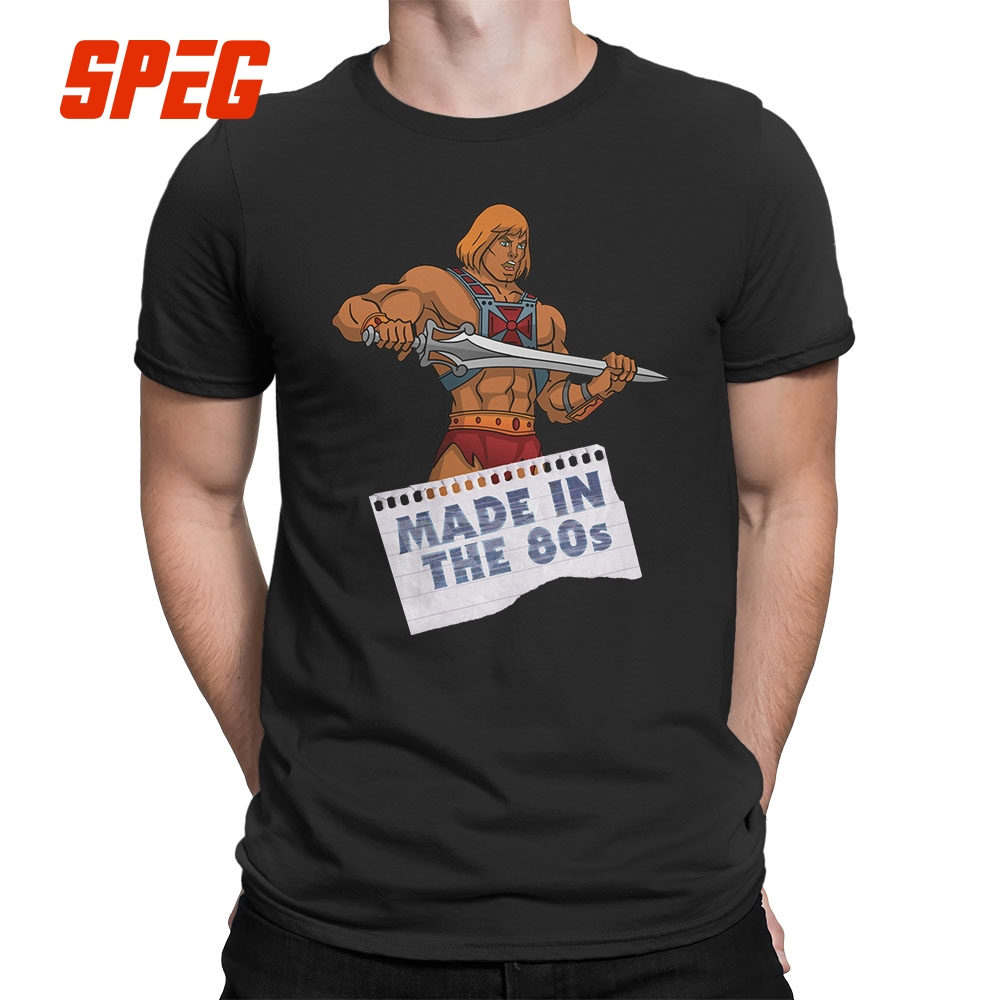 Masters of the Universe He-Man Made in the 80s Tee   Shirts   Crew Neck   T  -  Shirts   100% Cotton   T     Shirts   Short Sleeve Mens