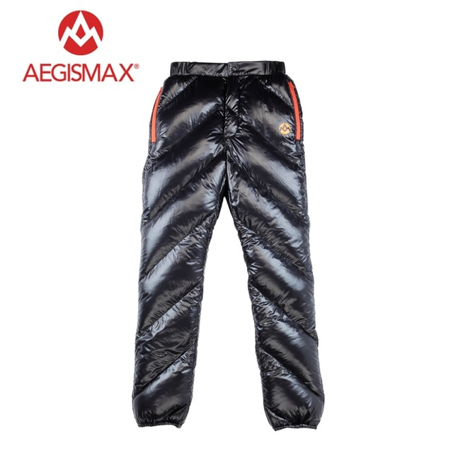 AEGISMAX Unisex 95% White Goose Down Pants Outdoor Climbing Waterproof Warm Pants Camping Goose Down Trousers 800FP gray black