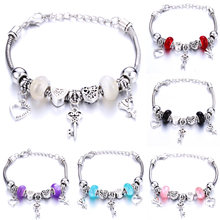 Romantic Love DIY Charm Bracelet Love Heart Key and Lock Bracelet for Women Jewelry Christmas New Year's Gift(China)