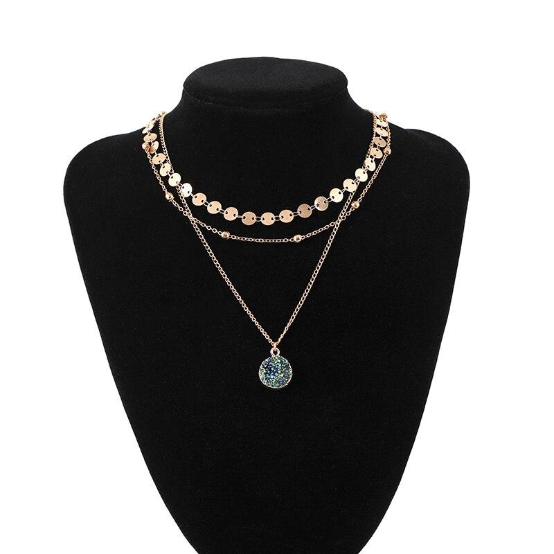 Shuangsheng 2018 Original Design Mode Gold Choker Münze Kette 3 Schicht Erz Superstar Partei Halskette Für Frauen Charme Halsband PüNktliches Timing