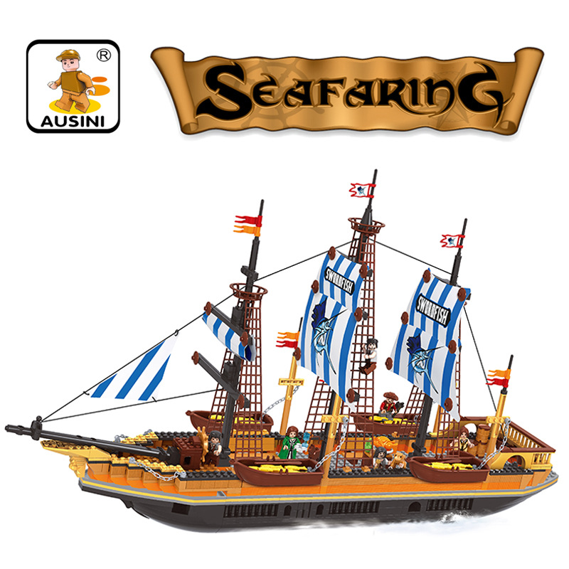 2016 New Arrive Pirate Ship plastic building blocks model kid educational Ship building bricks Toys gift for kids On Stock lepin 22001 pirate ship imperial warships model building block briks toys gift 1717pcs compatible legoed 10210
