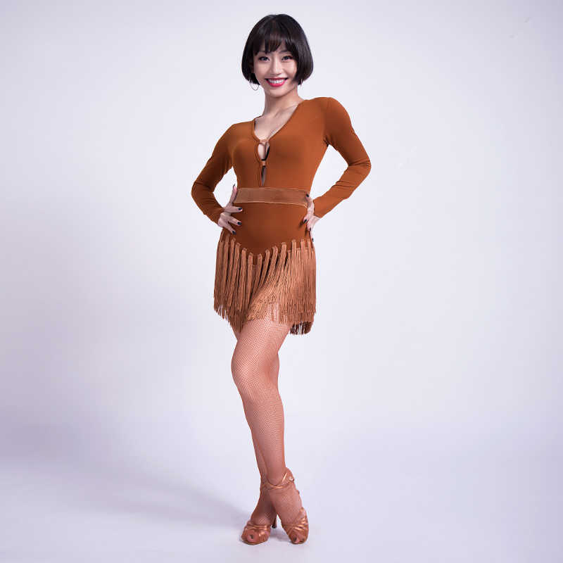 fdedaa8aa ... 2019 New Fashion Latin Dance Dress Women Sexy V Collar Ballroom  Competition Tassel Dresses Cha Cha ...
