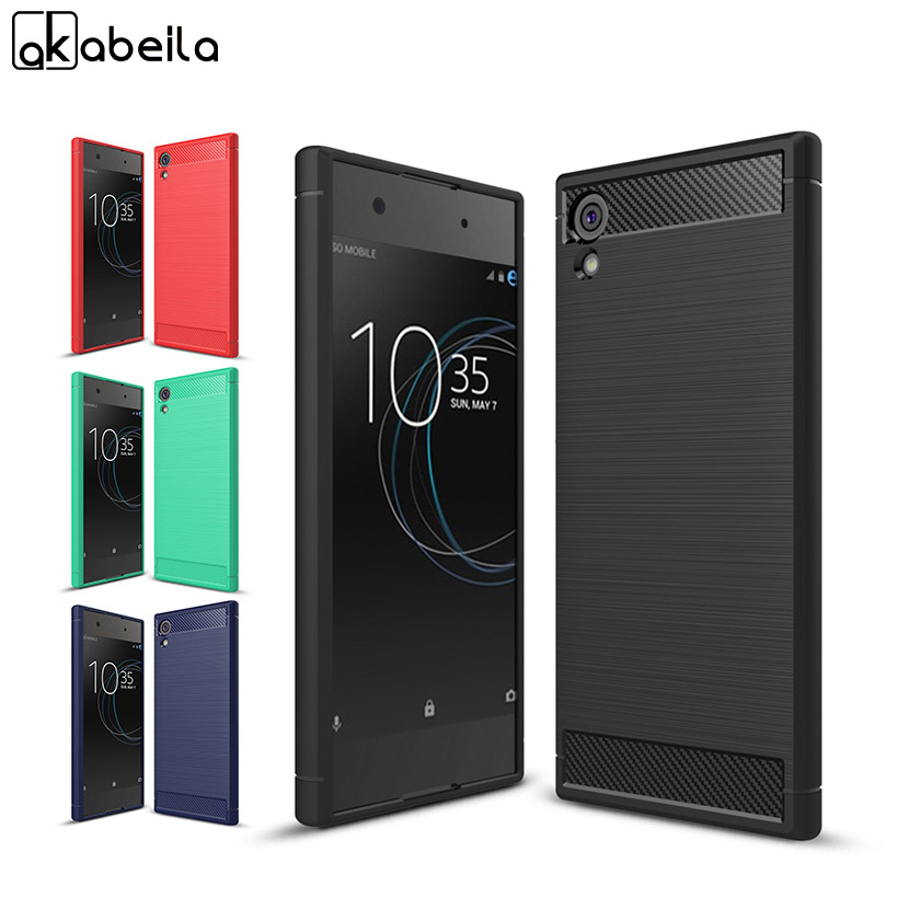 AKABEILA Carbon Fiber Cases For <font><b>Sony</b></font> Xperia XA1 Plus Case Silicone Soft Coque For <font><b>Sony</b></font> XA1 Plus Cover Bag Skin G3412 G3421 G3423 image