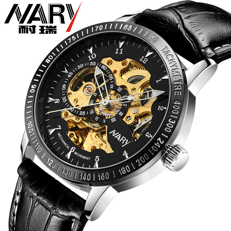 Nary Brand Logo Design Hollow Engraving High Grade Really Leather Skeleton Mechanical Watches Men S Luxury