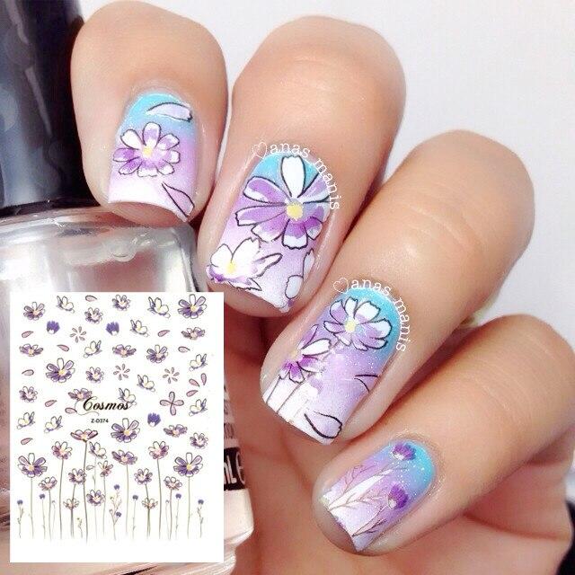 1 Sheet Cute Flower 3d Nail Art Stickers Light Purple Fl