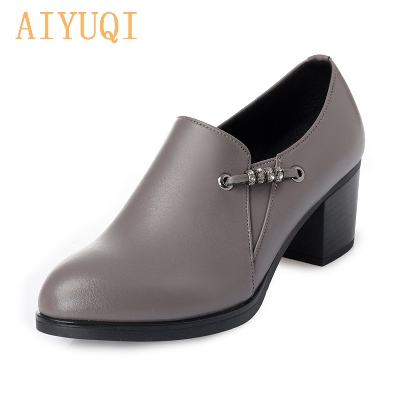 AIYUQI 2019 autumn genuine leather women office shoes high heeled sexy women dress shoes big size