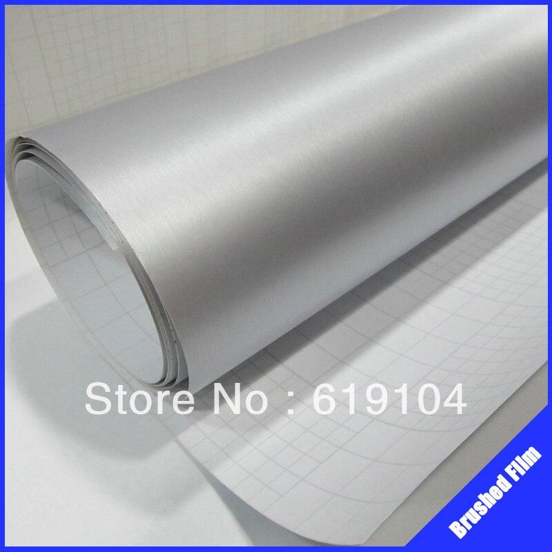 RoHS сертификат 1.52X30M воздуха бесплатных пузыри с канала серебряной щеткой Алюминиевый углеродного винил рулонов винил лобовое стекло автомобиля наклейки