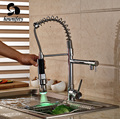 Single Lever Chrome Polished Kitchen Sink Faucet One Hole Mixer Tap LED Colors Pull Down Spray