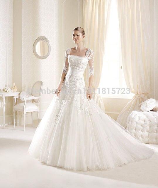3/4 Sleeve White/Ivory Custom Made Wedding Dresses Size 4 6 8 10 12 ...
