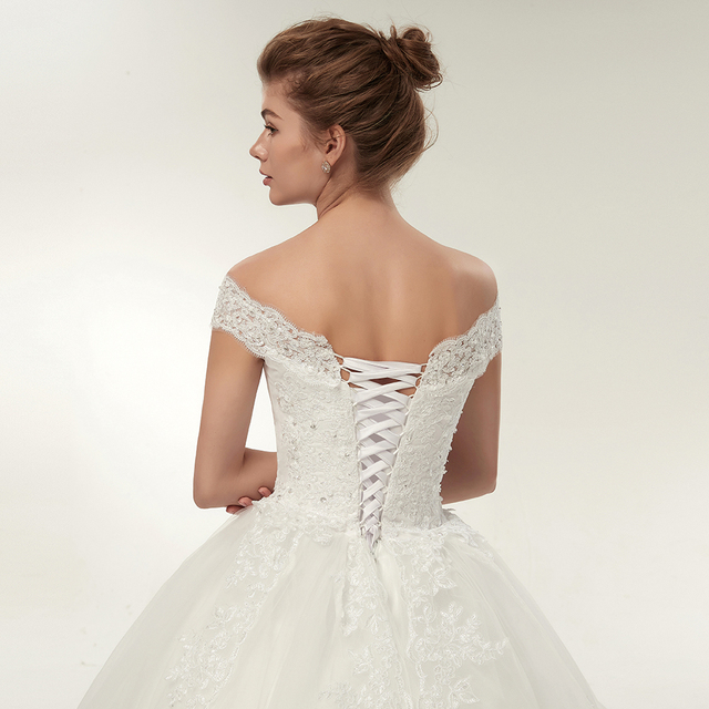 Fansmile Korean Lace Applique Ball Gowns Wedding Dresses 2020 Plus Size Bridal Dress Princess Wedding Gown Real Photo FSM-003F 6