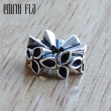 925 Sterling Silver Charms Designer Three Flowers Charm Bead Fit Brand European Bracelet Jewelry Fashion Beads Handmade mistletoe jewelry 925 sterling silver large hole light blue 3d flowers murano glass charm bead fit european bracelet