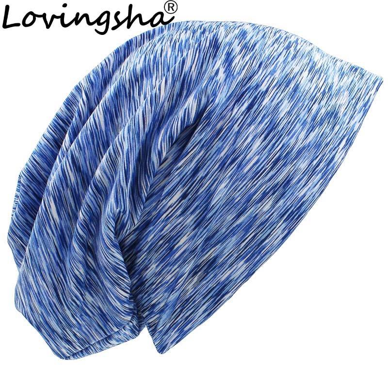 LOVINGSHA Autumn Winter Women Stripe Design Feminino Hats Men   Skullies     Beanies   For Ladies Thin Girl Fashion Hat Cap HT081