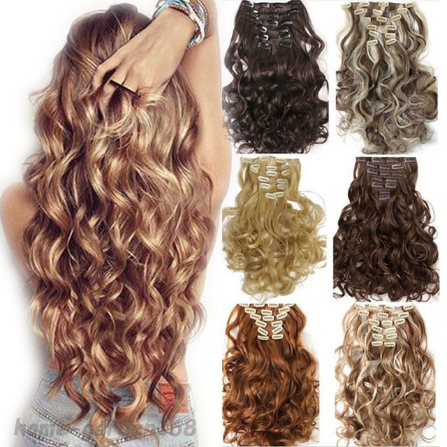 """FACTORY PRICE 100% natural Hair Extention Full Head Clip in on Hair Extensions Synthetic Black Brown 24"""" 60CM Curly Wavy 8PCS"""
