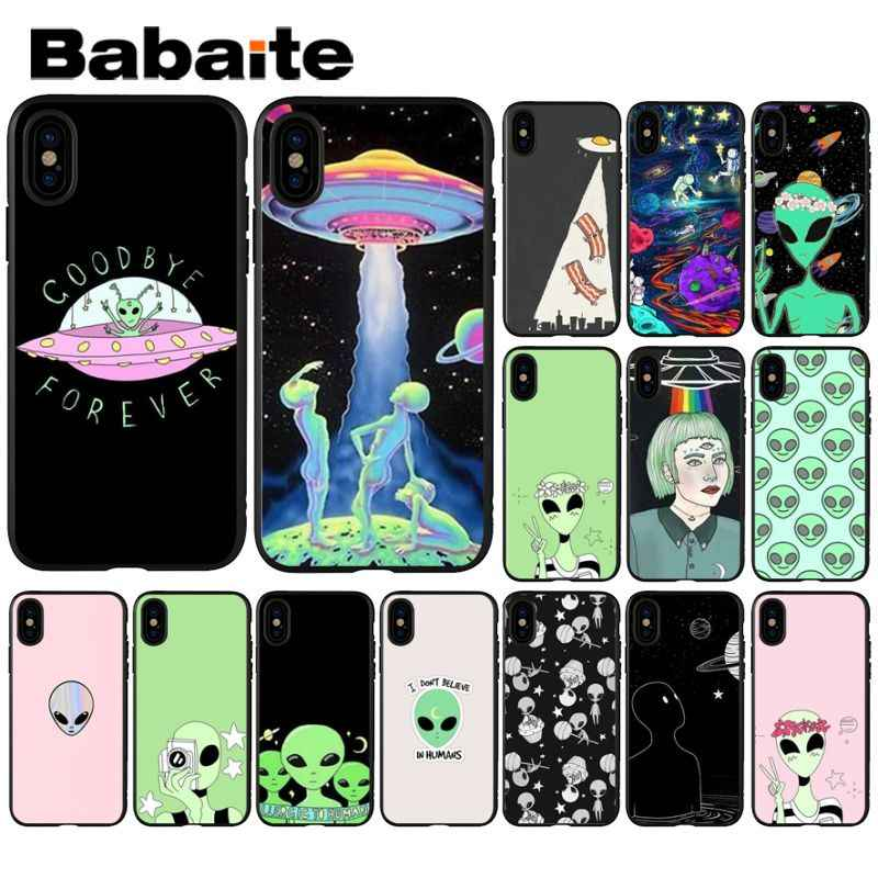 Babaite Alien Believe UFO AND Cute Emoji Black Soft Silicone Phone Cover for iPhone X XS MAX  6 6s 7 7plus 8 8Plus 5 5S SE XR