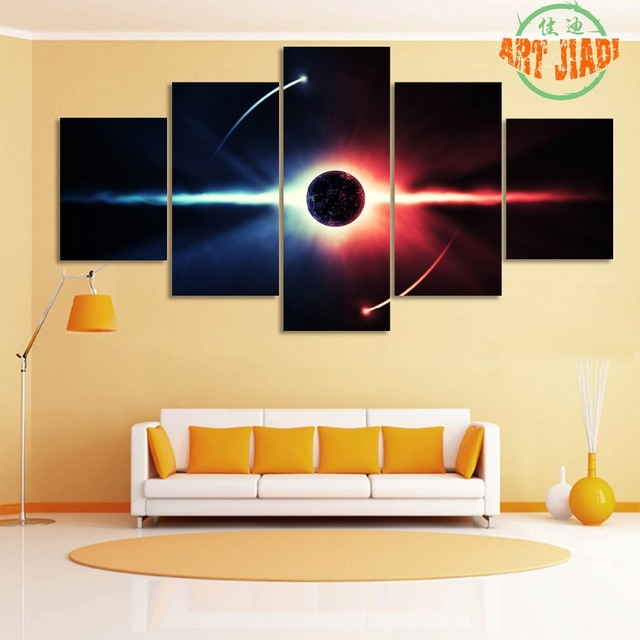 5 piece canvas art Star space Planet Canvas Print Painting for ...