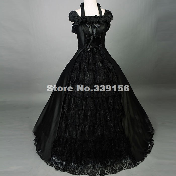 Halloween Vampire Black Southern Belle Rococo Gothic Lolita Dress Civil War Medieval Period Steampunk Victorian Lolita Ball Gown