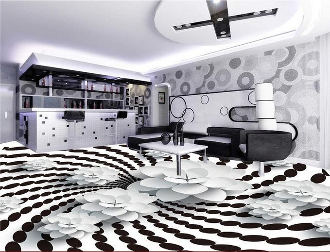 ФОТО customize pvc flooring self adhesive wallpaper 3d floor Black and white stereoscopic flower photo mural 3d floor tiles wallpaper