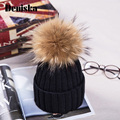2017 New Womens Warm Fleece Inside Beanie Hats Winter Mink Raccoon Fur Pompom Ski Hat Female Cap