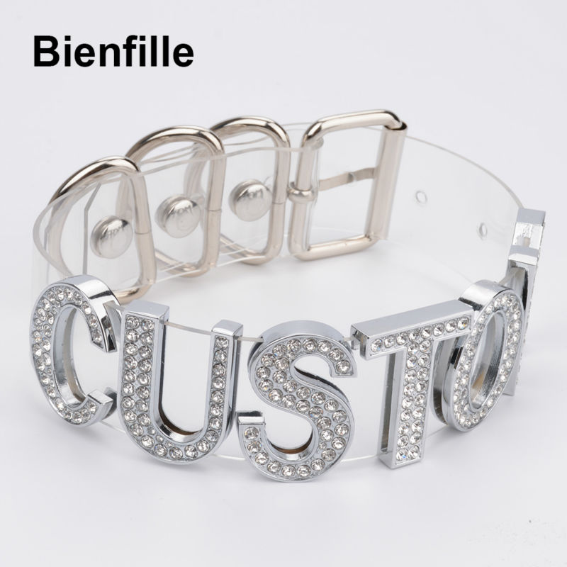 Charm Customized Choker Personalized Choose Unique Name Collar Necklace Crystal Silver Letters Transparent PVC Punk Goth Choker цена 2017