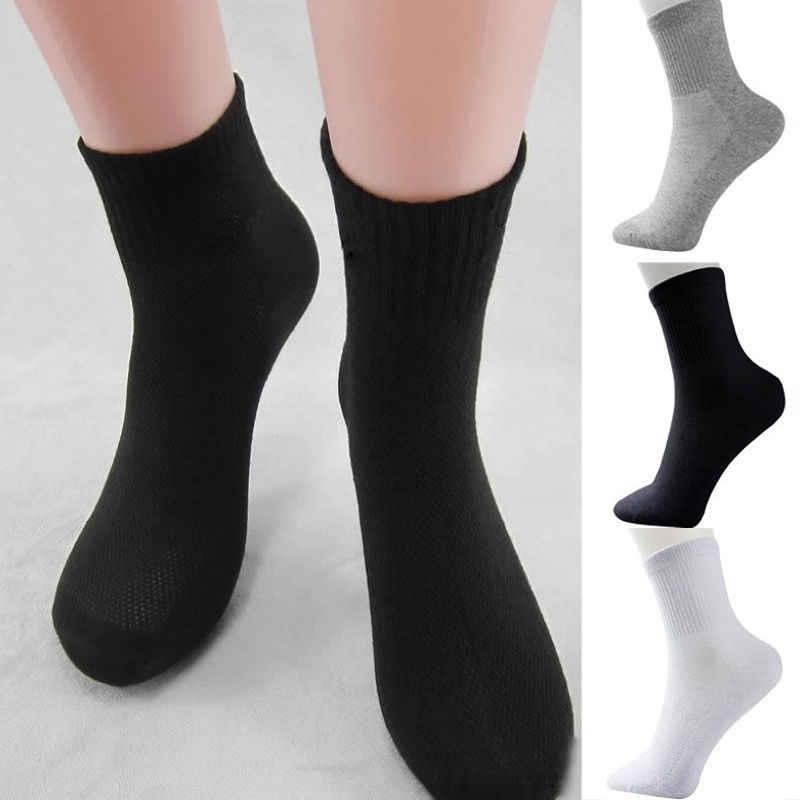 ยี่ห้อใหม่ 5 คู่ Mens ถุงเท้าลูกเรือฝ้าย 3 สี Warm Winter Welly Casual ถุงเท้าสีทึบอุปกรณ์เสริม