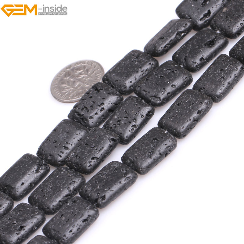 Gem-inside Natural Rectangle Black lava rock Loose Stone Beads For Jewelry Making Bracelet Necklace Strand 15 DIY Jewellery