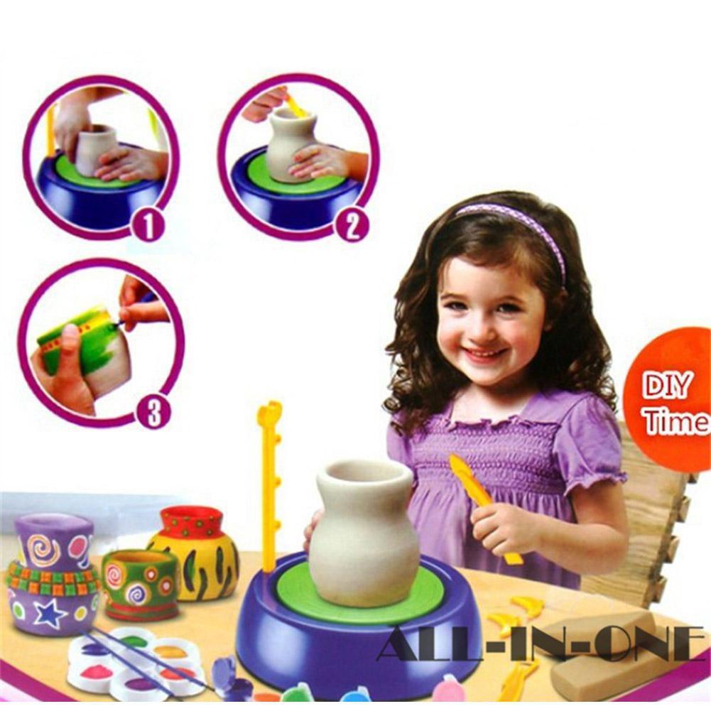 LeadingStar enfants mignon roue de poterie en céramique électrique avec des Kits d'argile bricolage Pigment dispositif enfants cadeau - 2