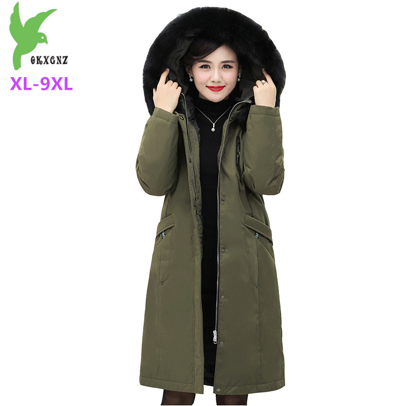 2019 Winter parkas women   down   jacket Plus size XL-9XL Liner Detachable White duck   down     coat   middle aged female long Parker H650