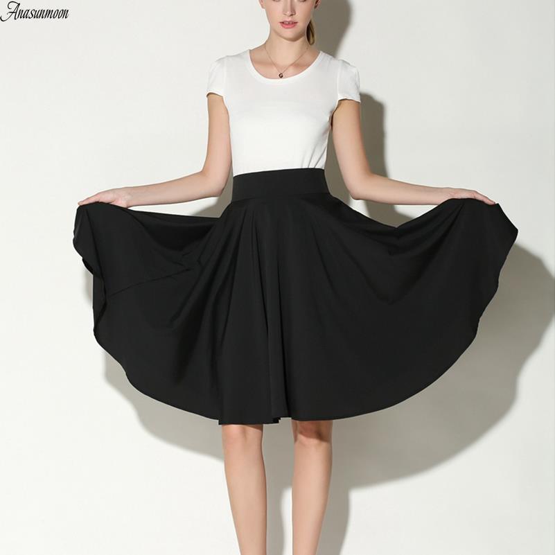 Anasunmoon Midi Skirt Skater Pleated Women Clothing Knee-Length Vintage High-Waist Casual