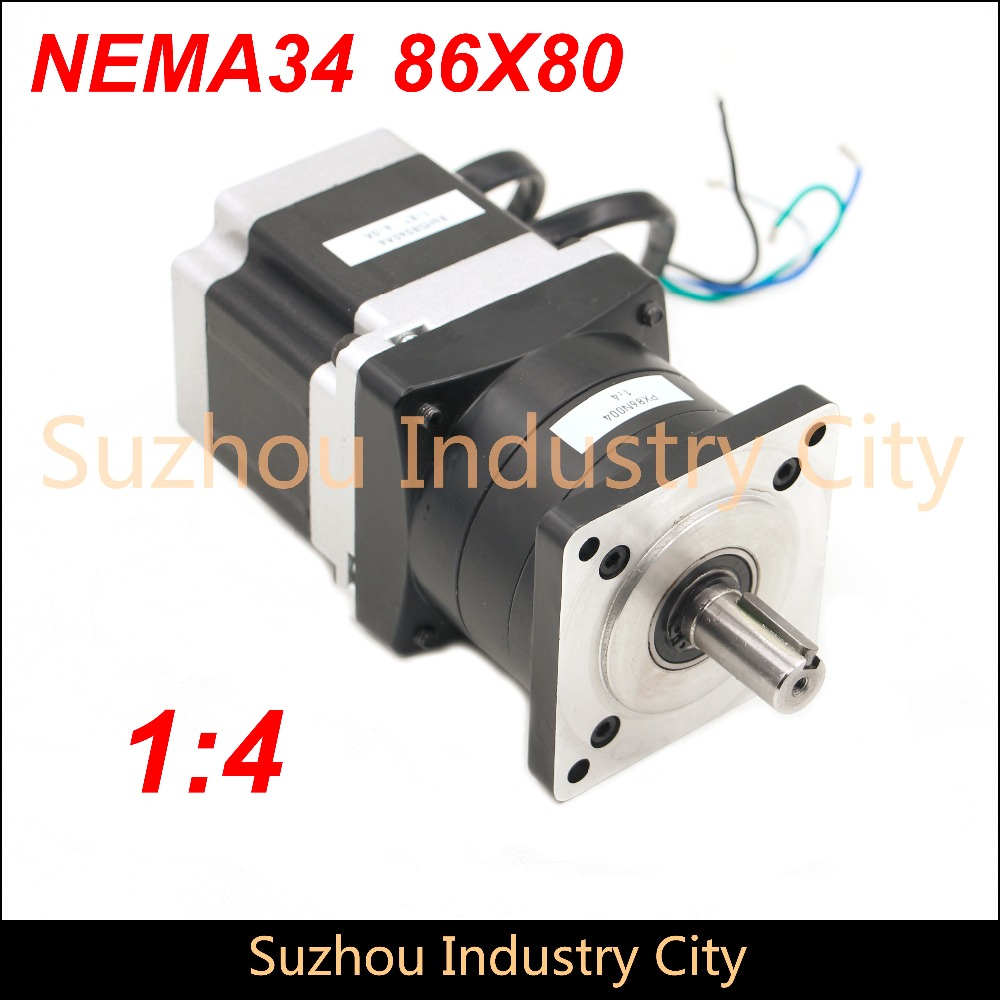 Nema34 stepper Motor Planetary Reduction Ratio 4:1 with nema34 motor 86x80 4A, planet gearbox 86 motor speed reducer,High Torque 2pcs lot high torque planetary gearbox is a no 17 stepping motor 788 oz in 15 1 20 1 25 1 with a 34 mm motor body length