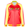2016 New S To XL Red-yellow Patchwork Women Sequin Coat With Zipper Funny Letter Red Autumn Winter Sportwear Jacket