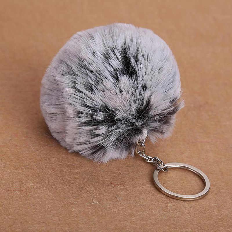 Chaveiro fofo falso coelho bola pom pom pom chaveiro bonito encantos pompom chaveiro presentes para as mulheres saco de carro acessórios chaveiro