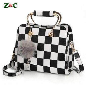 f91be2dc5491 Новые Для женщин бренд черный и белый в клетку подвеска на сумку сумка  женская сумки на плечо высокое качество кожаные сумки через плечо сум.