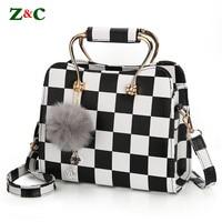 Newest Women Brand Black White Plaid Design Handbag Flap Tote Bag Female Shoulder Bags High Quality