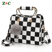 Newest Women Brand Black&white Plaid Design Handbag Flap Tote Bag Female Shoulder Bags High Quality Leather Crossbody Bags Purse brown bag high quality leather messenger bags brand fashion design cross body flap box handbag black green white color