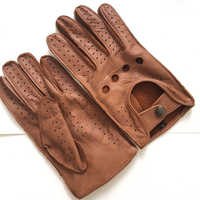 Kostenloser versand Männer Herbst und Winter Echtem Leder Handschuhe Neue Mode Marke Braun Warm Driving Ungefüttert Handschuhe Ziegenleder Handschuhe