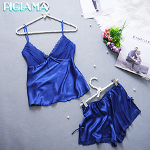 2017 Women Pijamas Set Sexy Sleepwear Rayon Silk Lace V neck Spaghetti Strap Shorts Homewear Pijama