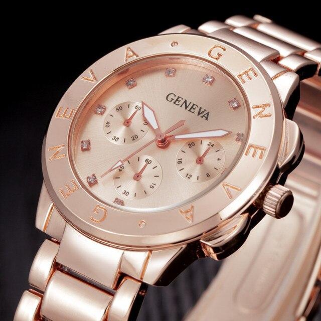 cc402a955ae GENEBRA Assistir Mulheres de Luxo Da Marca Relógio de Quartzo relogio  feminino Mulheres Vestido de Aço