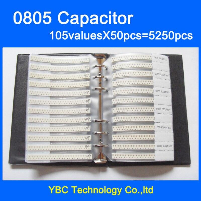 Бесплатная доставка 0805 SMD конденсатор Образец книга 105valuesx50 шт = 5250 шт 0.5PF ~ 10 мкФ набор различных конденсаторов пакет