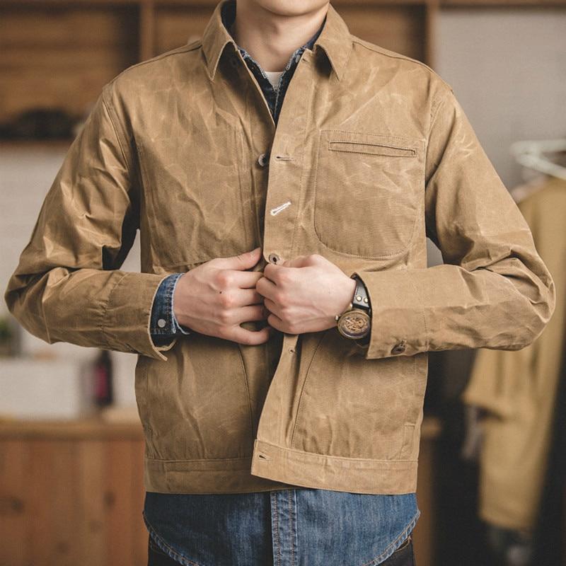 Men Jacket And Coat Tool American Retro Heavy Oil Wax Canvas Khaki Jacket Classic